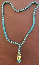 Vintage Native American Blue w Red Yellow Rolled Glass Seed Bead Drop Necklace