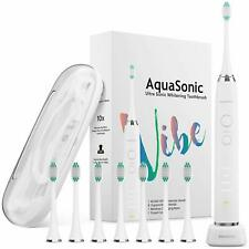 AquaSonic Ultra Whitening Electric Toothbrush - 8 Brush Heads & Travel Case Set