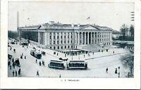 1900 Washington DC Treasury Building Trolleys Buggies Street View Postcard BM