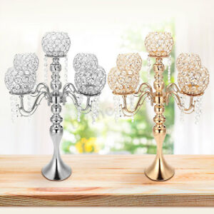 Modern 5 Arm Crystal Candle Holder Candelabra Wediing Party Event Table Decor !