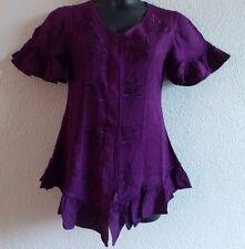 Top Fits 1X 2X Plus Purple Button Down Ruffle Hem Sleeve Embroider Stars NWT G63