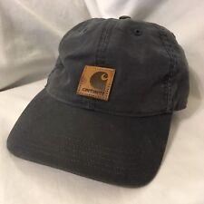 2b61150bfe8 Carhartt Dark Blue Gray Strapback Hat Cap With Leather Logo Square