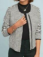 Dolan Women's Gray/White Striped Fleece Moto Jacket Anthropologie! Size XL