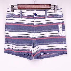 "Khakis by Gap Women's 2 100% Cotton Blue Striped The 4"" Short K14"