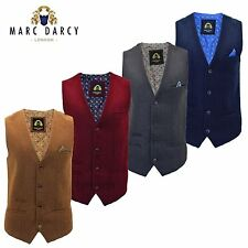 Mens Marc Darcy Woven Wool Style Lined Collarless Formal Suit Waistcoat Vest