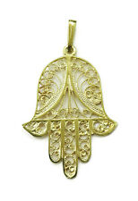 14K Yellow Gold Hamsa Charm Necklace Pendant ~ 2.3g