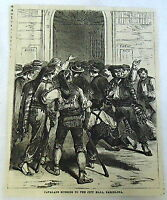 1882 magazine engraving ~ CATALANS RUSHING TO CITY HALL, BARCELONA Spain