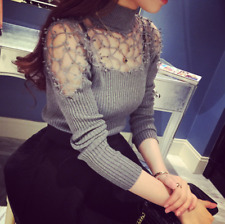 Sexy Fashion Women/Girls Base Shirt Long Sleeve Hollow out Lace Tops & Blouses