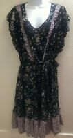 dress xl extra large womens casual career new nwt black floral print