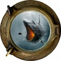 Huge 3D Porthole Fantasy Big Fish Submarine View Wall Stickers Mural Decal 473