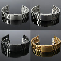 18-24mm Curved End Stainless Steel Bracelet Watch Band Strap Side Button Buckle