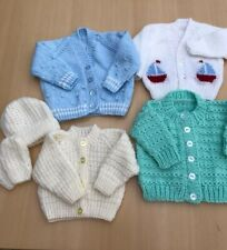 *REDUCED* 4 HAND KNITTED BABY BOYS CARDIGANS + MITTS - SIZE 0-3 MONTHS GORGEOUS
