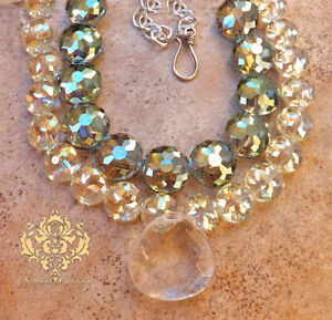 Czech Glass Bridal Statement Necklace Jewelry Faceted Quartz Pendant Teal Green