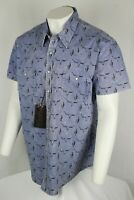 Rock & Roll Cowboy Men's Short Sleeve Western Shirt XL Steerhead & Cactus
