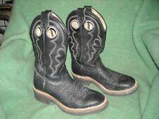 boulet cowboy boots black 6 stitch heavy duty but soft thick leather 7 1/2 E