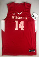 Ua Mens L Wisconsin Badgers Fury Stock Basketball Jersey #14 Red Ukj123M B6