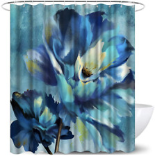 Teal Blue Flower Shower Curtain Set Waterproof Floral Polyester Fabric Decorativ