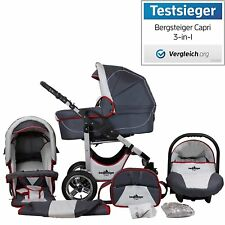 Bergsteiger Kinderwagen Capri 3-in-1 Farbe Grey & Red Stripes