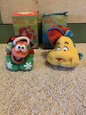 Vintage 1989 Little Mermaid McDonald's Flounder Sebastian Plush Ornaments Set 2