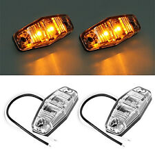 2x Fish Shape Amber LED Side Marker Clearance Light White Crystal Cover For Jeep