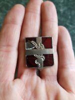 Antique Vintage WWII Era? US Military Snake Pin Enamel Old Collar Badge Z1