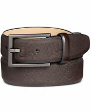 $85 ALFANI Men's RED LEATHER STRAP SILVER-BUCKLE CASUAL TEXTURE BELT SIZE 30