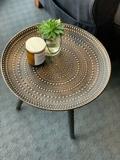 NEW Stunning Round Side Table Gold Boho Home Decor Furniture, Small Coffee Table