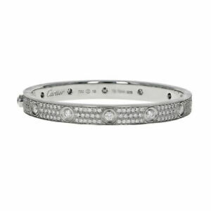 Cartier Pave Diamond Love Bracelet 18K White Gold