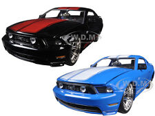 2010 FORD MUSTANG GT W/ STRIPES BLUE & BLACK SET OF 2 CARS 1/24 JADA 96868 SET