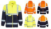 Mens Hi Vis Fleece Full Zip Warm 2 Side Reflective workwear Casual Sweat Jacket