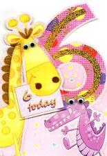Filles 6th anniversaire jungle amis carte de vœux die cut vacille eye cartes