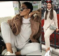 2PCS Women Cable Knit Polo Roll Neck Oversize Sweater Top Lounge Wear Jumper Set