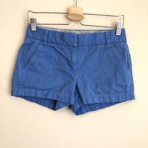 J.CREW Womens Blue Broken-In Chino Shorts 100% Cotton Size 0