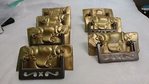 """7 Large Drawer Pulls brass back plates with silver bails approx. 5 1/4"""" x 2 1/4"""""""