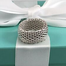 Size 7.5 Tiffany & Co Sterling Silver Somerset Mesh Weave Flexible Ring