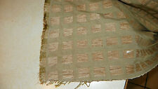 Green Beige Square Print Chenille Upholstery Fabric  1 Yard  R16