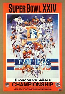 """""""DENVER BRONCOS vs 49ers"""" (1990) """"SUPER BOWL XXIV"""" Vintage *NFL FOOTBALL POSTER*"""