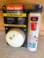 1ST FIRST ALERT SMOKE DETECTOR ALARM & FIRE EXTINGUISHER SAFETY BONUS PACK • NEW