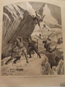 INCISIONE - LA CATASTROFE SUL CERVINO - 7 AGOSTO 1893