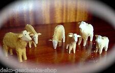 6 tallada ovejas de Madera Decoración Navidad Bricolaje pirámides 70224