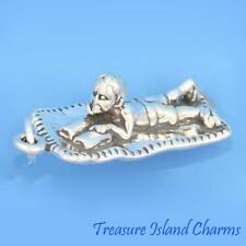 Boy Reading Book On The Beach 3D .925 Solid Sterling Silver Charm Pendant Heavy