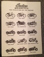 10pcs 10x Lot INDIAN MOTORCYCLE CAFE Placemat History Of Evolution CHIEF SCOUT