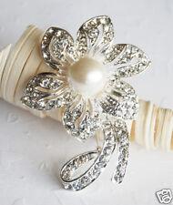 Rhinestone Crystal Pearl Brooch Wedding Cake Decoration BR007