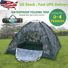 Outdoor 2-4 Person 4 Season Camping Hiking Waterproof Folding Tent Camouflage US