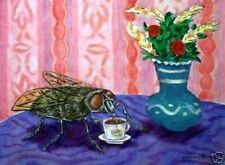 house fly at coffee shop insect art poster 13x19 Glossy Print