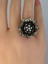 Designer Anitanja Dimensional Water Lily Bronze Rhodium Plated Ring Size 7