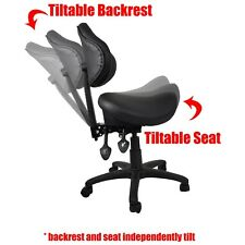 Ergonomic Adjustable Rolling Saddle Stool Chair with Back Support for office