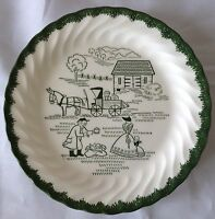 Vintage Royal China Green White Countryside Plate Transfer Barn Farm Mule wagon