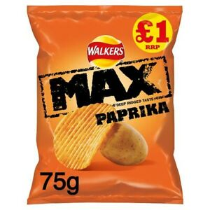 Walkers Max Paprika Crisps £1 PMP 75g Case Of 12