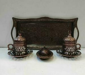 Espresso Turkish Coffee Set Copper Cups & Saucers Tray Handcrafted, Antique Red